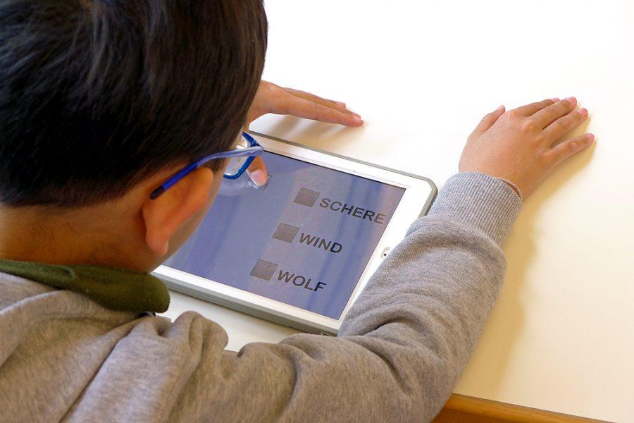 Ein Schüler arbeitet mit einem iPad, auf dem Worte in Großschrift zu sehen sind.